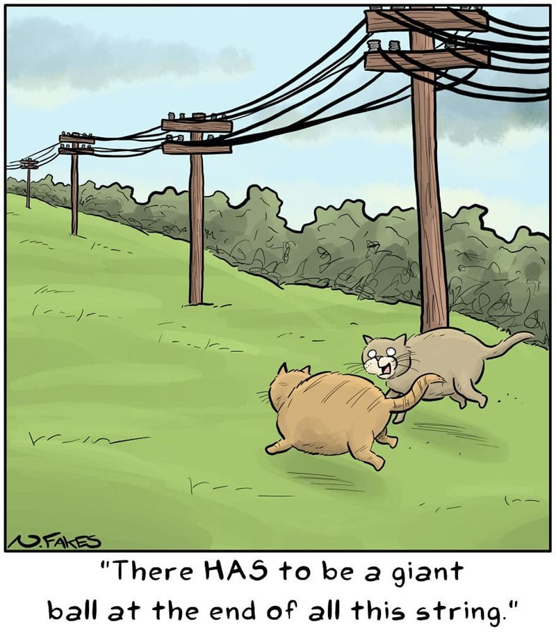 """Cartoon - FAKES """"There HAS to be a giant ball at the end of all this string."""""""
