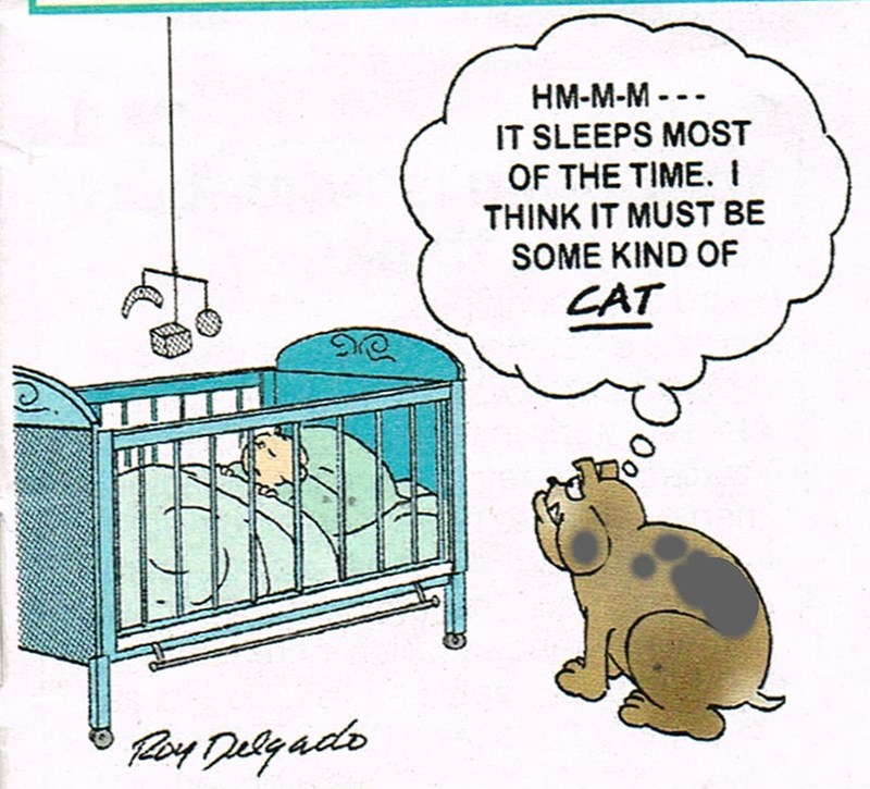 cartoon illustration comic hmmm ir sleeps most of the time i think it must be some kind of cat dog watching a baby asleep in a crib