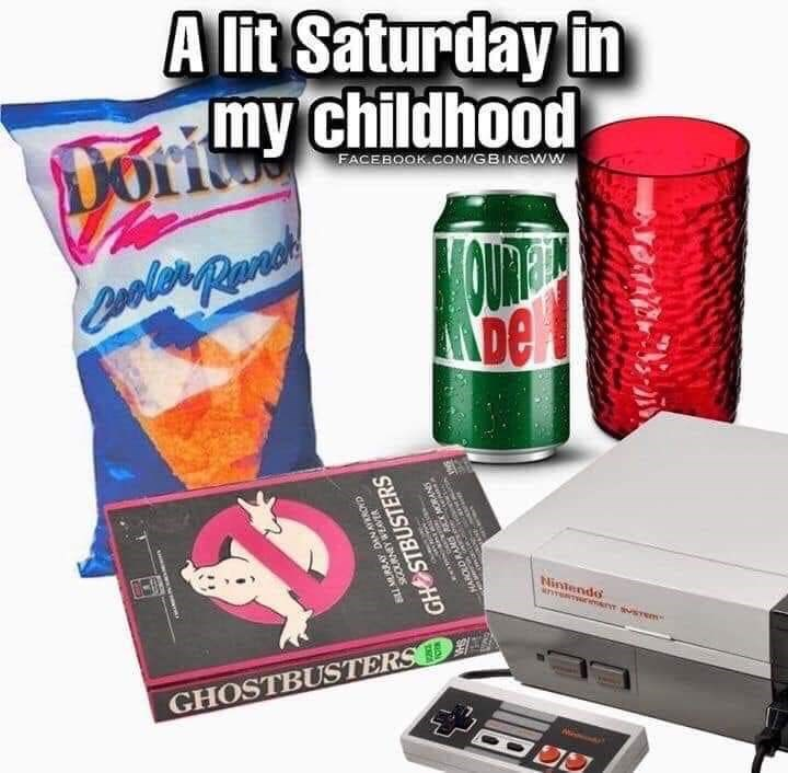 Product - A lit Saturday in my childhood Dorit FACEBOOK.COM/GBINCWW OUT be Nintendo GHOSTBUSTERSD RAY DAN AYKROND GHOSTBUSTERS X MORANS 1T8 LP