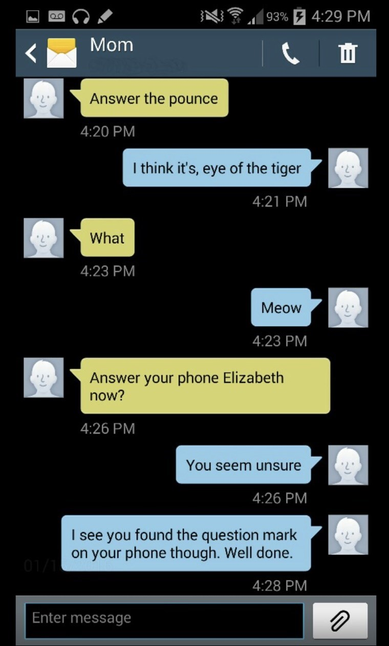 Text - | 93% 7 4:29 PM Mom Answer the pounce 4:20 PM I think it's, eye of the tiger 4:21 PM What 4:23 PM Meow 4:23 PM Answer your phone Elizabeth now? 4:26 PM You seem unsure 4:26 PM I see you found the question mark on your phone though. Well done. 4:28 PM Enter message