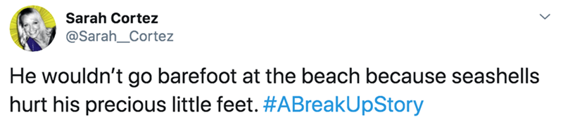 Text - Sarah Cortez @Sarah_Cortez He wouldn't go barefoot at the beach because seashells hurt his precious little feet. #ABreakUpStory