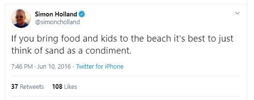 Text - Simon Holland @simoncholland If you bring food and kids to the beach it's best to just think of sand as a condiment. 7:46 PM Jun 10, 2016 · Twitter for iPhone 108 Likes 37 Retweets