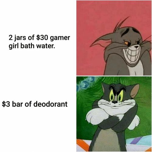 Cartoon - 2 jars of $30 gamer girl bath water. $3 bar of deodorant