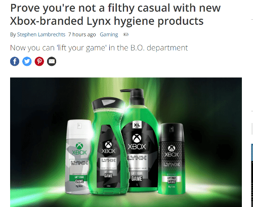 Product - Prove you're not a filthy casual with new Xbox-branded Lynx hygiene products By Stephen Lambrechts 7 hours ago Gaming Now you can 'lift your game' in the B.O. department XL XBOX XBOX хвох хвох LYNX LYNS GAME GAME GAME GAME 1888681