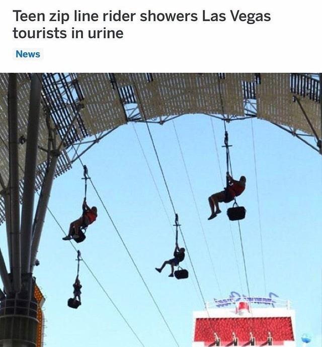 Crane - Teen zip line rider showers Las Vegas tourists in urine News