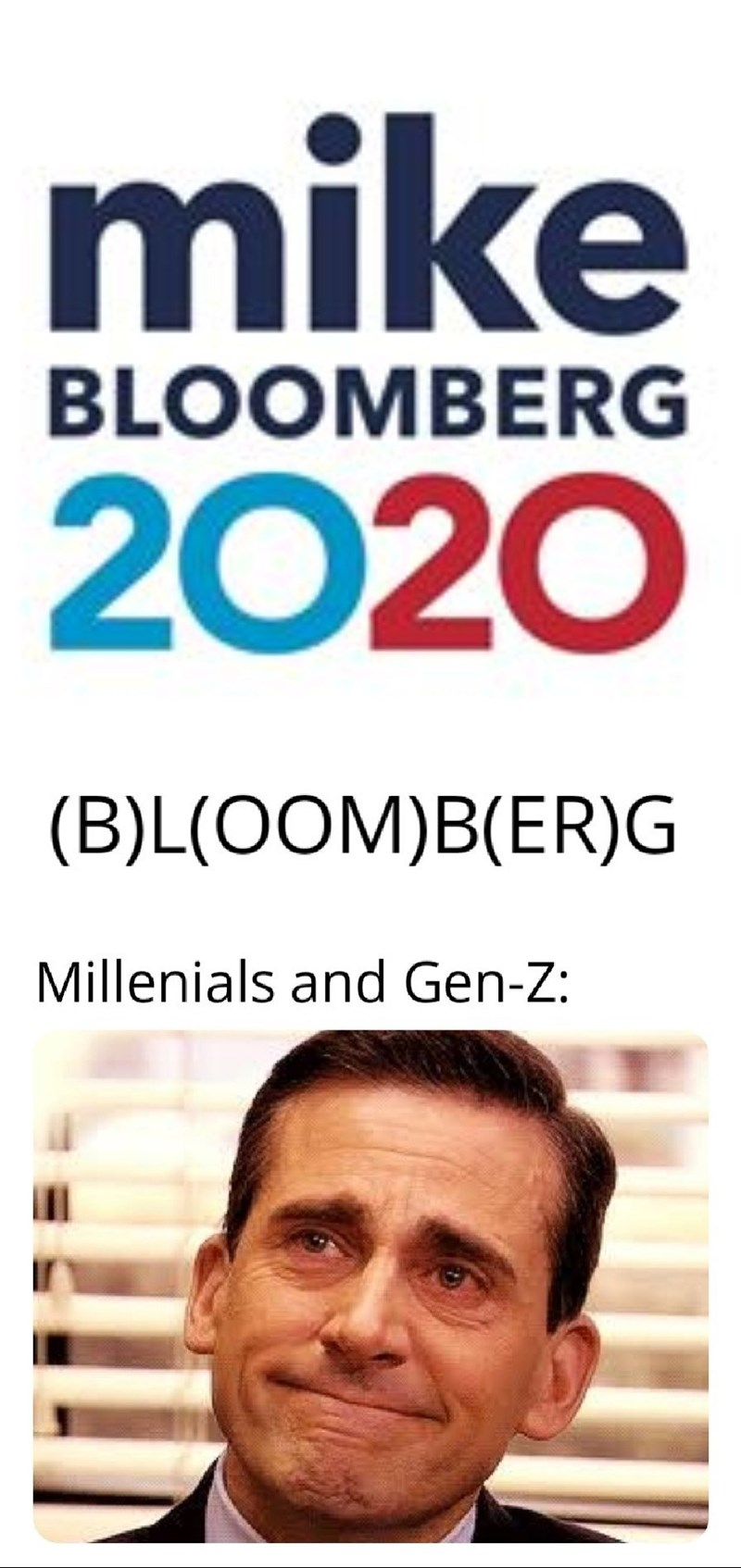 Text - mike BLOOMBERG 2020 (B)L(OOM)B(ER)G Millenials and Gen-Z: