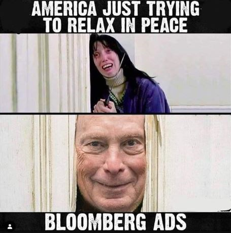 Facial expression - AMERICA JUST TRYING TO RELAX IN PEACE BLOOMBERG ADS