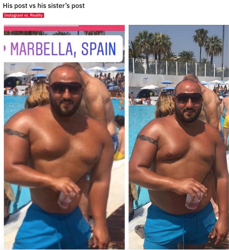 Barechested - His post vs his sister's post Instagram vs. Reality MARBELLA, SPAIN