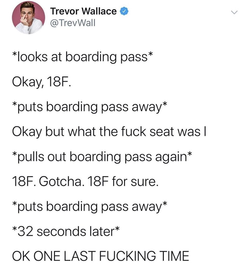 Text - Trevor Wallace @TrevWall *looks at boarding pass* Okay, 18F. *puts boarding pass away* Okay but what the fuck seat was I *pulls out boarding pass again* 18F. Gotcha. 18F for sure. *puts boarding pass away *32 seconds later* OK ONE LAST FUCKING TIME