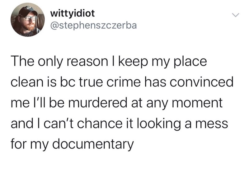 Text - wittyidiot @stephenszczerba The only reason I keep my place clean is bc true crime has convinced me l'll be murdered at any moment and I can't chance it looking a mess for my documentary <>