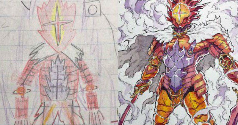 Artist adapts his kids drawings into anime style.
