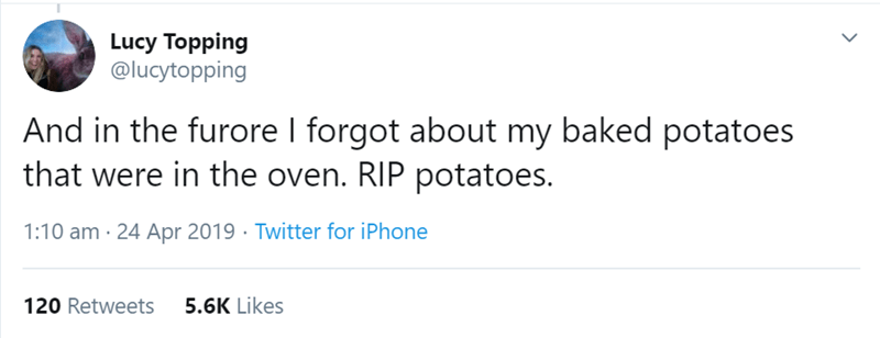 Text - Lucy Topping @lucytopping And in the furore I forgot about my baked potatoes that were in the oven. RIP potatoes. 1:10 am · 24 Apr 2019 · Twitter for iPhone 120 Retweets 5.6K Likes