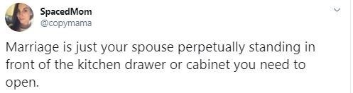 Text - Text - SpacedMom @copymama Marriage is just your spouse perpetually standing in front of the kitchen drawer or cabinet you need to open.
