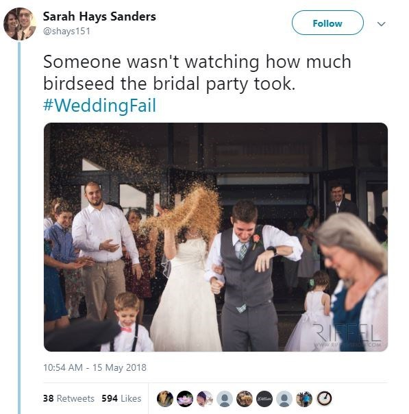 Photograph - Sarah Hays Sanders Follow @shays151 Someone wasn't watching how much birdseed the bridal party took. #WeddingFail www.RI COM 10:54 AM - 15 May 2018 38 Retweets 594 Likes