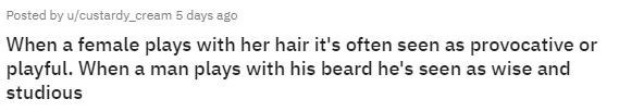 Text - Posted by u/custardy_cream 5 days ago When a female plays with her hair it's often seen as provocative or playful. When a man plays with his beard he's seen as wise and studious