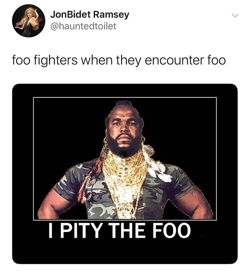 Text - JonBidet Ramsey @hauntedtoilet foo fighters when they encounter foo I PITY THE FOO