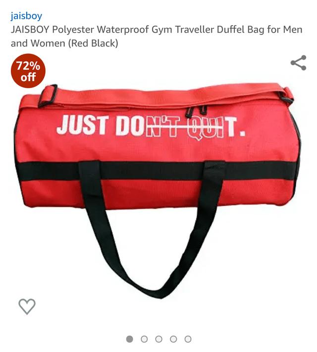 Bag - jaisboy JAISBOY Polyester Waterproof Gym Traveller Duffel Bag for Men and Women (Red Black) 72% off JUST DON'T QUIT.