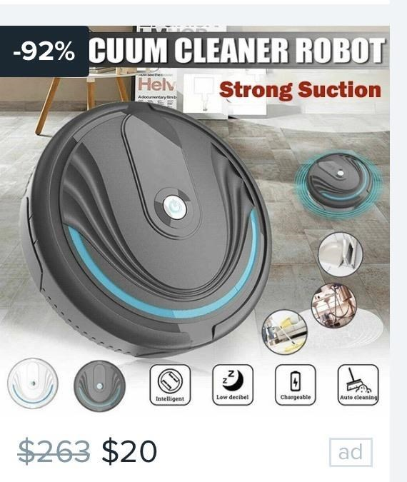 Auto part - -92% CUUM CLEANER ROBOT Helv Strong Suction Adoountaryn Low decibel Chargeable Auto cleaning Intelligent $263 $20 ad