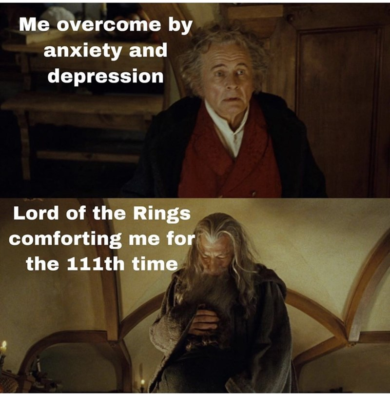 Photo caption - Me overcome by anxiety and depression Lord of the Rings comforting me for the 111th time