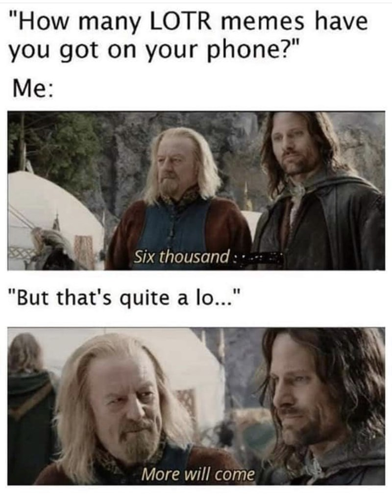 "Hair - ""How many LOTR memes have you got on your phone?"" Me: Six thousand : . ""But that's quite a lo..."" More will come"