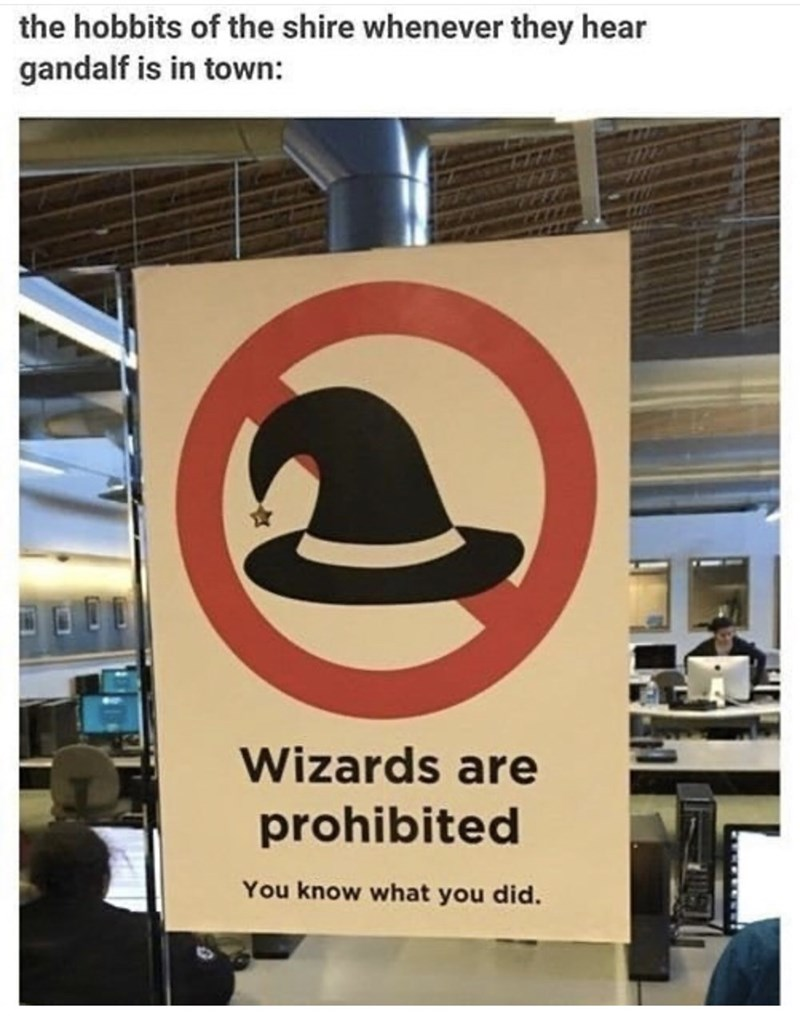 Text - the hobbits of the shire whenever they hear gandalf is in town: Wizards are prohibited You know what you did.