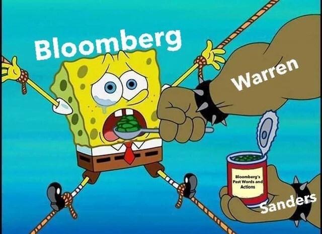 Cartoon - Bloomberg Warren Bloomberg's Past Words and Actions Sanders