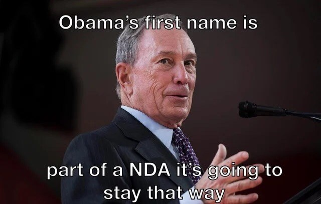 Spokesperson - Obama's first name is part of a NDA it's going to stay that way