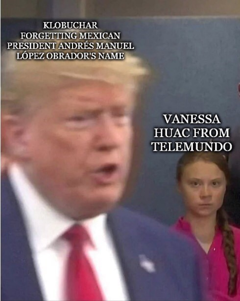 Photo caption - KLOBUCHAR FORGETTING MEXICAN PRESIDENT ANDRÉS MANUEL LÓPEZ OBRADOR'S NAME VANESSA HUAC FROM TELEMUNDO