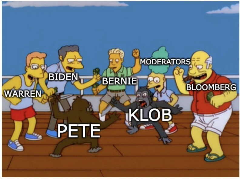 Cartoon - MODERATORS BIDEN BERNIE BLOOMBERG WARREN KLOB L PETE