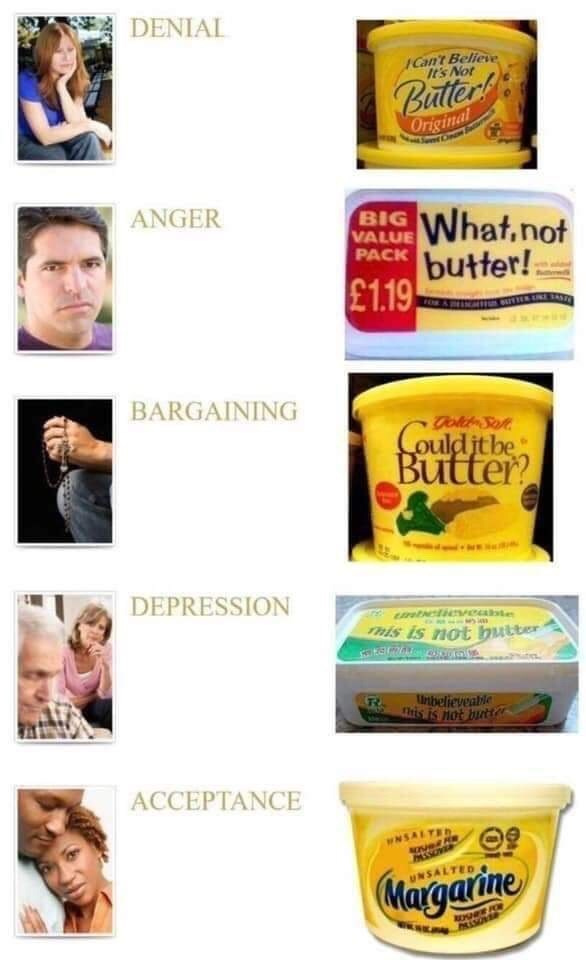 Product - DENIAL Cant Believe It's Not Butter Original ANGER What.not butter! £1.19 BIG VALUE PACK BARGAINING Tok Sot Could jt be Butter DEPRESSION tetieveabte Tmis is not butter Unibelieveable this is not butter ACCEPTANCE WNSALTED PASSOVER Margarine UNSALTED