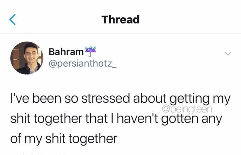 Text - Thread Bahram @persianthotz_ I've been so stressed about getting my @beingteen shit together that I haven't gotten any of my shit together <>