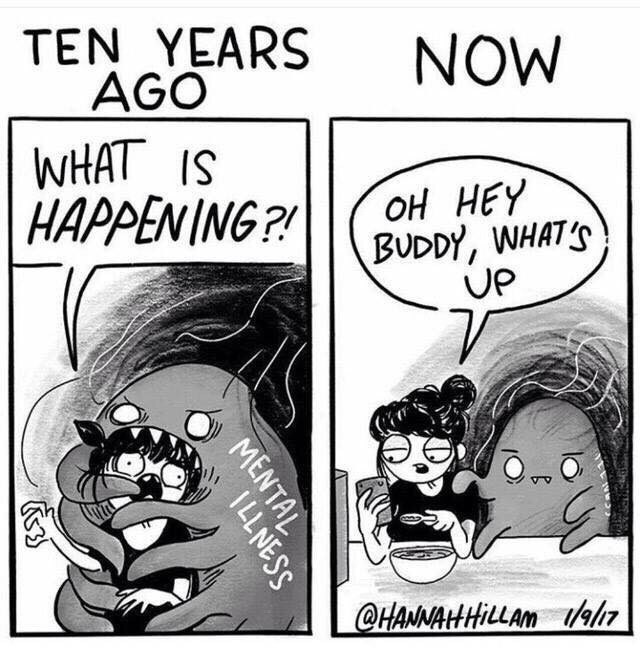 Cartoon - TEN YEARS AGO WHAT IS HAPPENING?! NOW оН НЕY BUDDY, WHAT'S UP @HANNAHHILLAM 1/9/17 MENTAL ILLNESS