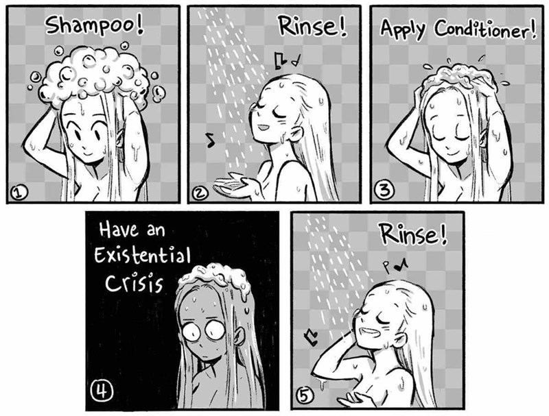 Cartoon - Shampoo! Rinse! Apply Conditioner! Have an Existential Crisis Rinse! (4)