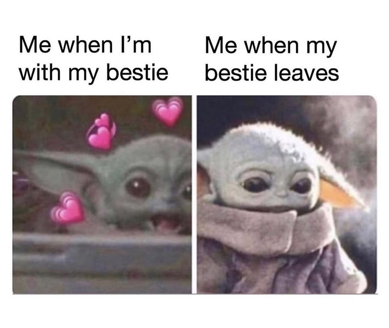 Photo caption - Me when I'm Me when my with my bestie bestie leaves
