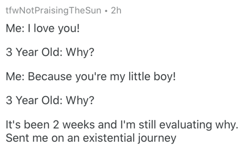 Text - tfwNotPraisingTheSun • 2h Me: I love you! 3 Year Old: Why? Me: Because you're my little boy! 3 Year Old: Why? It's been 2 weeks and l'm still evaluating why. Sent me on an existential journey