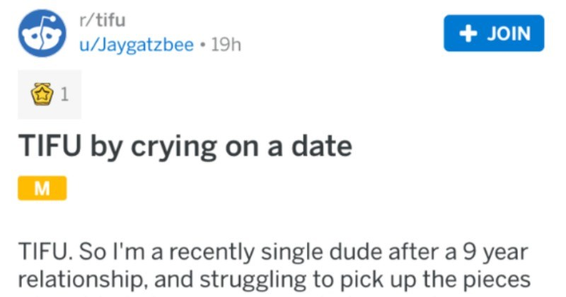 Guy goes on a date and ends up crying because they watch a movie that was important to him and his ex.