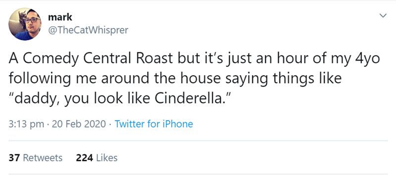 "Text - mark @TheCatWhisprer A Comedy Central Roast but it's just an hour of my 4yo following me around the house saying things like ""daddy, you look like Cinderella."" 3:13 pm · 20 Feb 2020 · Twitter for iPhone 37 Retweets 224 Likes"