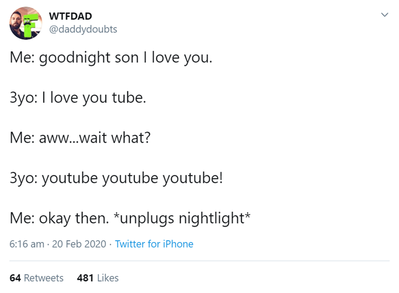 Text - WTFDAD @daddydoubts Me: goodnight son I love you. 3yo: I love you tube. Me: aww..wait what? 3yo: youtube youtube youtube! Me: okay then. *unplugs nightlight* 6:16 am · 20 Feb 2020 · Twitter for iPhone 64 Retweets 481 Likes