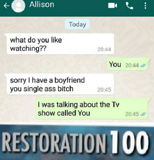 Text - Allison Today what do you like watching?? 20:44 You 20:44 sorry I have a boyfriend you single ass bitch 20:45 I was talking about the Tv show called You 20:45 RESTORATION 100