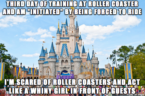 """Walt disney world - THIRD DAY OF TRAINING AT ROLLER COASTER AND AM """"INITIATED"""" BY BEING FORCED TO RIDE I'M SCARED OF ROLLER COASTERS AND ACT LIKE A WHINY GIRL IN FRONT OF GUESTS nade on imgur"""