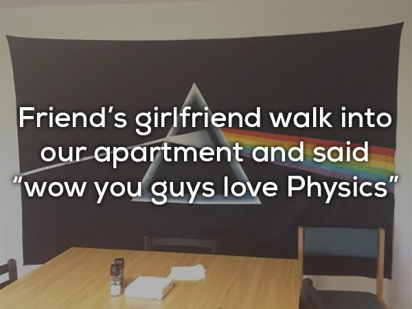"""Text - Friend's girlfriend walk into our apartment and said """"wow you guys love Physics"""""""
