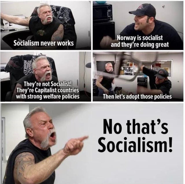 Arm - Norway is socialist and they're doing great Socialism never works They're not Socialist! They're Capitalist countries with strong welfare policies Then let's adopt those policies No that's Socialism! huno