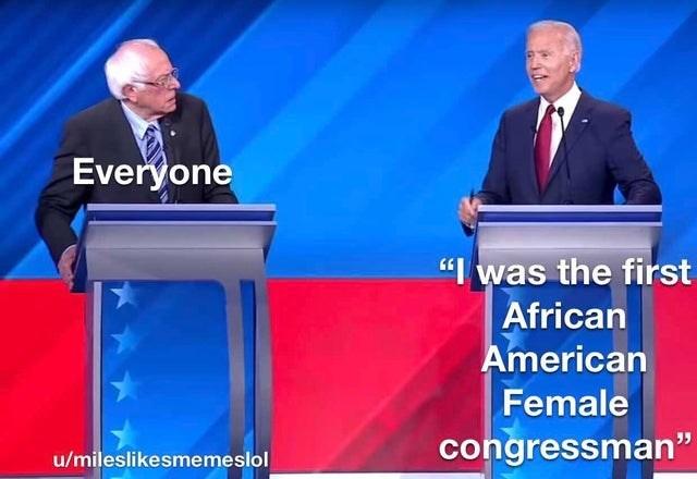 "Speech - Everyone ""I was the first African American Female congressman"" u/mileslikesmemeslol"