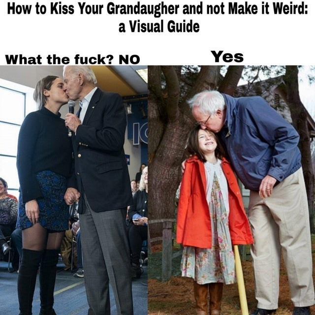 Photo caption - How to Kiss Your Grandaugher and not Make it Weird: a Visual Guide What the fuck? NO Yes