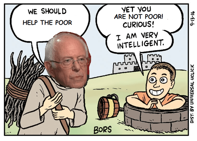 Cartoon - WE SHOULD YET YOU ARE NOT POOR! HELP THE POOR CURIOUS! I AM VERY INTELLIGENT. BORS DIST: BY UNIVERSAL UCLICK ATALE 91-EI-6