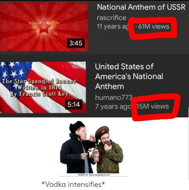 Font - National Anthem of USSR rascrifice 11 years ag61M views 3:45 United States of America's National The Star Spangled Banner Wrillen in 1814 By Francis Scott Key Anthem humano773 5:14 years ago 15M views FOTOARGH k6352153 www.fotosearch.com *Vodka intensifies*