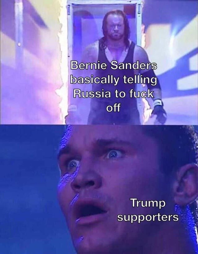 Text - Bernie Sanders basically telling Russia to fuck off Trump supporters