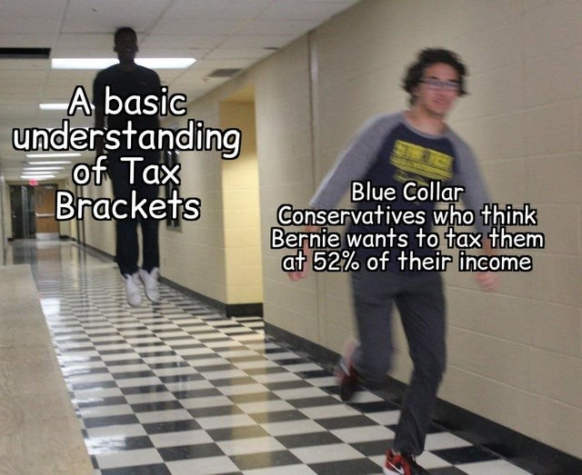 Standing - A basic understanding of Tax Brackets Blue Collar Conservatives who think Bernie wants to tax them at 52% of their income