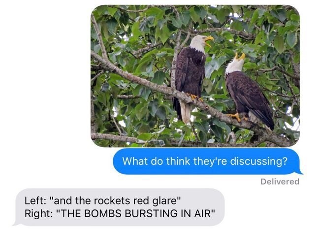 """Bird - What do think they're discussing? Delivered Left: """"and the rockets red glare"""" Right: """"THE BOMBS BURSTING IN AIR"""""""