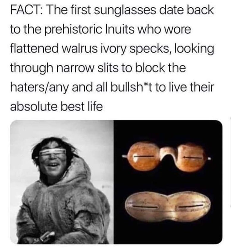Text - FACT: The first sunglasses date back to the prehistoric Inuits who wore flattened walrus ivory specks, looking through narrow slits to block the haters/any and all bullsh*t to live their absolute best life